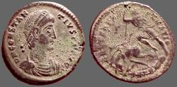 Ancient Coins - Constantius II AE2 Centionalis.  Roman Soldier spearing enemy horseman