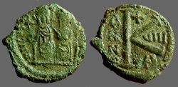 Ancient Coins - Justin II & Sophia AE18 1/2 Follis. Thessalonica   Year 8.  Nice example.