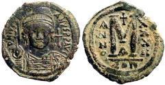 Ancient Coins - Justinian I AE32 facing bust Follis.  Constantinople.  year 32