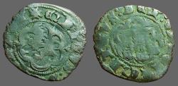 World Coins - Spain.  Enrique III billon 23mm blanca (2 Cornados)