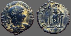 Ancient Coins - Constans AE3 Securitas holds scepter, leaning on column