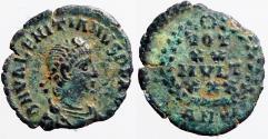 Ancient Coins - Valentinian II AE4 Vows in wreath.  VOT/XX/MVLT/XXX.  Antioch