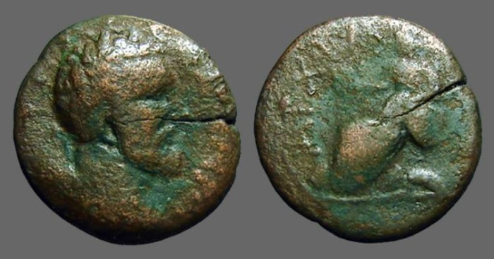 Ancient Coins - Septimius Severus AE23 Anchialus, Thrace.  Cybele seated left.