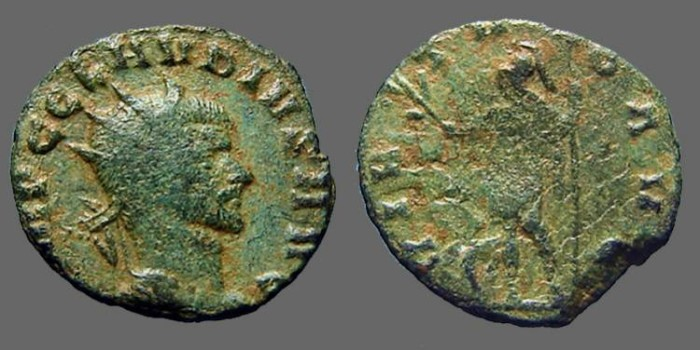 Ancient Coins - Claudius II Gothicus billon antoninianus.  VIRTVS
