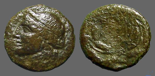 Ancient Coins - Syracuse AE15 Demeter / City name in barley wreath