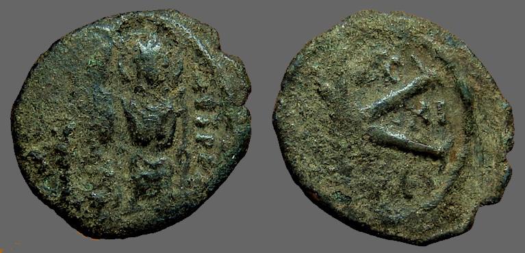 Ancient Coins - Justin II & Sophia AE19 1/2 follis. year 11