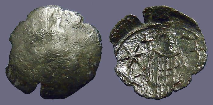 Ancient Coins - Andronicus II AE17 Trachy, Archangle Michael / Andronicus.
