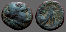 Ancient Coins - Thrace, Lysimachia AE18 Head of Tyche right / LUSIMACEWN, Lion sitting right.