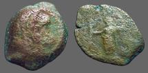 Ancient Coins - Ptolemy of Cyprus AE16 Hemiobol, Zeus holding grain ear.