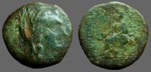 Dionysopolis, M.I. AE20 Hd of veiled Demeter w. stephane / Goddess on throne w phiale
