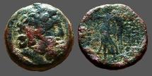Ancient Coins - Demetrios II AE18 Hd. of Zeus / Nike adv. w. wreath & palm.   SG #7112.