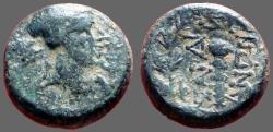 Ancient Coins - Lydia, Sardes, AE15 Apollo / Club within oak wreath.