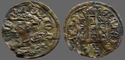 World Coins - Alfonso XI 18mm Cornado Crowned bust of Alfonso /  Castle