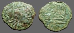 Ancient Coins - Roman Spain AE18 Semis.  Imitative.  Hd rt. / Galley Prow