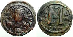 Ancient Coins - Justinian I AE38 Follis.  Facing bust.  Constantinople.  year 13