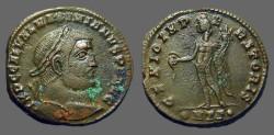 Ancient Coins - Maximianus AE27 Follis, Genius w. patera & cornucopia