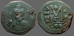 Ancient Coins - Maurice Tiberius AE31 Follis. Constantinople.  year 20 gamma officiana