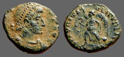 Ancient Coins - Valentinian I AE3 Victory advancing w. wreath and whip