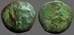 Ancient Coins - Dionysopolis, M.I. AE20 Hd of veiled Demeter w. stephane / Goddess on throne w phiale