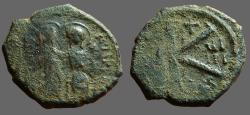 Ancient Coins - Justin II & Sophia AE20 1/2 follis year 8. Thessalonica