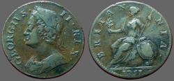 World Coins - Great Britain, King George II AE28 1/2 Penny. 1751