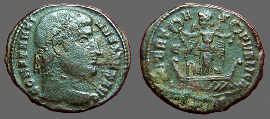 Ancient Coins - Constantine I AE3 Victory in galley, wreath in each hand