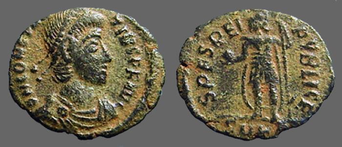 Ancient Coins - Constantius AE3 Spes Reipublicae.  Roma stg. left w. globe & spear.