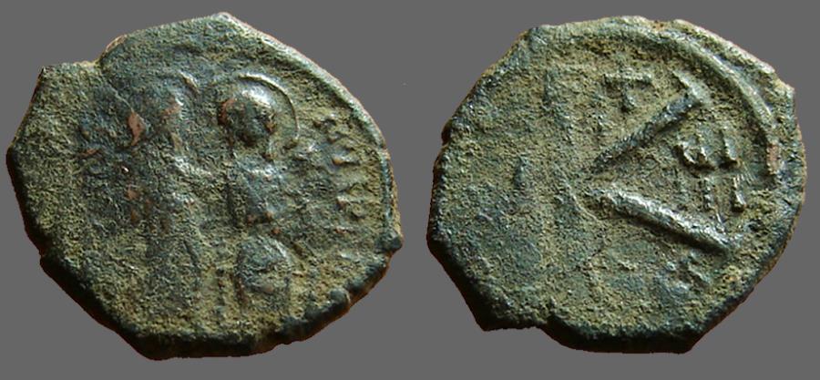 Ancient Coins - Justin II & Sophia AE20 1/2 follis year 8. Thessalonica