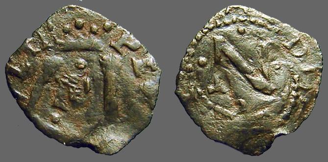 World Coins - Carlos I AE17 Dinero of Navarra.