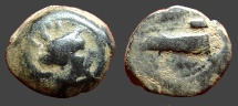 Ancient Coins - Phoenicia, Arados  AE16 Turreted bust of Tyche / Galley prow left.