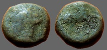 Ancient Coins - Zeugitania, Carthage AE15 Wreathed hd. of Tanit / Horse adv. rt.