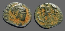 Ancient Coins - Arcadius AE3 Military bust facing / Constantinopolis seated.