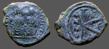 Ancient Coins - Justin II & Sophia AE18 1/2 Follis. E officiana  Thessalonica