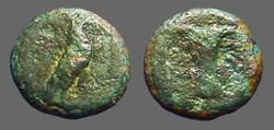 Ancient Coins - Aeolis, Kyme AE9 Eagle rt. / Goblet.