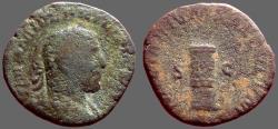 Ancient Coins - Philip I AE28 Sestertius.  Column inscribed COS III