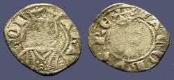 World Coins - Spain Aragon Jaime II Billon Dinero. Bust left/Patriarchal Cross.   1291-1327 AD.