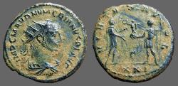 Ancient Coins - Numerian Antoninianus.  Emperor receives globe from Carinus