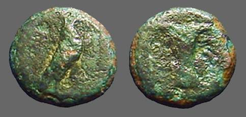 Ancient Coins - Aiolis, Kyme AE9 Eagle rt. / Goblet.