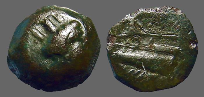 Ancient Coins - Phoenicia AE15 Arados, Tyche / Galley prow w. fighting Athena.