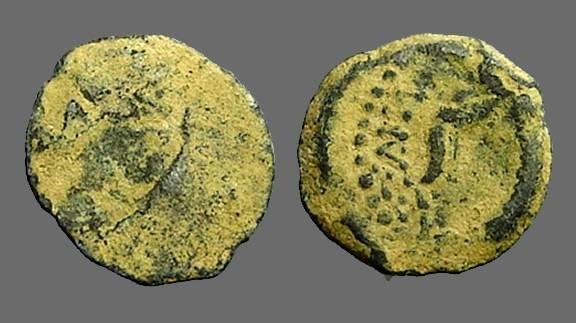 Ancient Coins - Alexander Jannaeus, Star / Anchor, Jerusalem. Mint error. VF