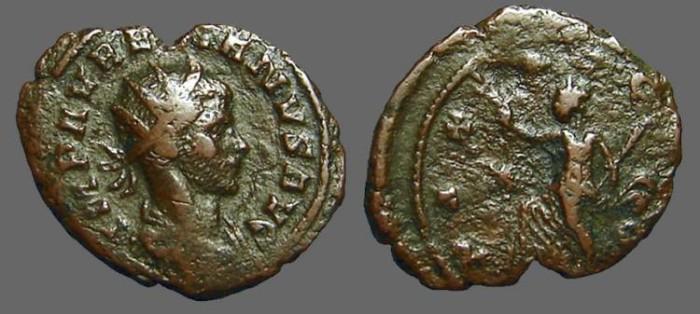Ancient Coins - Aurelian billon antoninianus  PAX AVGVSTI.  Pax walking w. branch, scepter