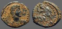 Ancient Coins - Constantius II AE3 Soldier spearing fallen horseman. Antioch