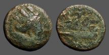 Ancient Coins - Phoenicia, Arados  AE17 Turreted bust of Tyche / Athena on prow left.