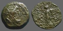 Ancient Coins - Demetrios II AE18 Hd. of Zeus / Nike adv. w. wreath & palm.