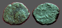 Ancient Coins - Late Roman AE4 (9mm) bust rt / Cross in wreath