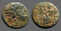 Ancient Coins - Seleicis & Pieria, Antiocheia AE18 Hd. of Zeus / Zeus enthroned