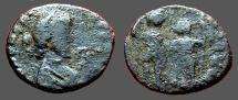 Ancient Coins - Honorius AE3 (14mm) Arcadius and Honorius stg. hold globe between them