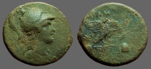 Ancient Coins - Phrygia, Apameia. Æ24  Athena in Corinthian Helmet / Eagle w. caps of Dioskuri