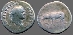 Ancient Coins - Titus Silver Denarius. Sow & piglets.  Rome