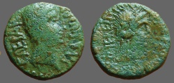 Ancient Coins - Augustus AE21 as, Lilybaeum  Hd of Apollo